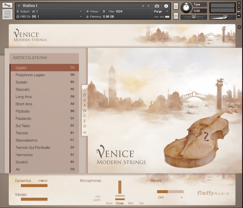 Venice Modern Strings GUI